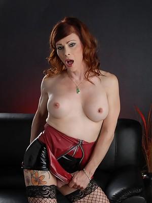 Stunning Jasmine posing in a naughty latex miniskirt