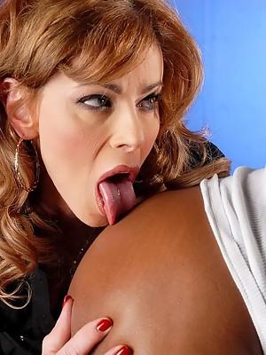 TS teacher Jasmine Jewels blowing a huge ebony cock